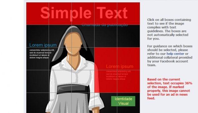 Criatividade à prova! Anúncios patrocinados no Facebook Ads exigem que a peça possua menos de 20% de texto.